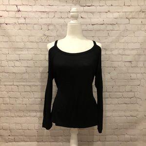 Tobi Cold Shoulder Black Love Sleeve T-shirt